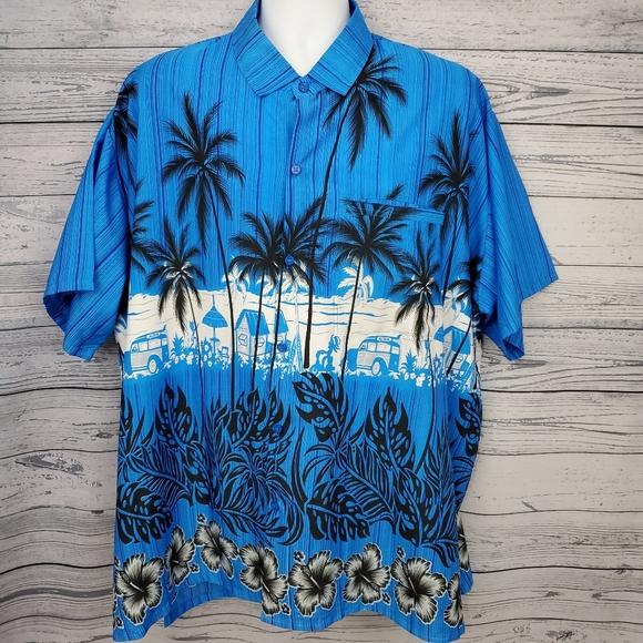 Happy Bay Hawaiian Shirt Mens XXL 2XL Palm Trees